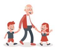 Avô e seu passeio dos netos ilustração stock