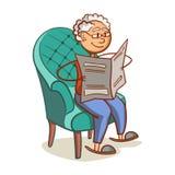 Avô que lê um jornal Imagem de Stock