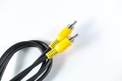 Av кабеля, видео- коаксиальной сетноой-аналогов желтой головы Стоковые Фотографии RF