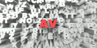 AV - Красный текст на предпосылке оформления - 3D представленное изображение неизрасходованного запаса королевской власти Стоковая Фотография RF