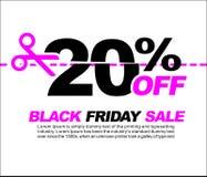 20% AV Black Friday Sale, befordrings- affisch eller illustration för klistermärkedesignvektor Arkivfoton