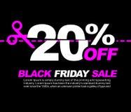 20% AV Black Friday Sale, befordrings- affisch eller illustration för klistermärkedesignvektor Arkivbild