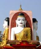 3 av Buddha 4 hans riktning 4 punkter i den Myanmar templet Royaltyfria Bilder