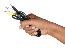 Av cable with hand. Image of av cable with hand Royalty Free Stock Photo