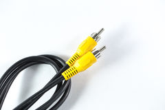 Av cable, video coaxial analog yellow head royalty free stock photos
