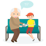 Avô com tabuleta ilustração stock