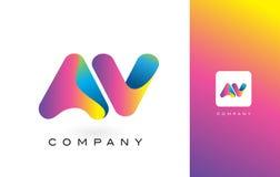 AV de Mooie Kleuren van Logo Letter With Rainbow Vibrant Kleurrijk t Stock Afbeeldingen
