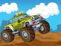 Av den bil- illustrationen för vägtecknad film för barnen Royaltyfri Foto