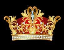 Av den kungliga guld- kronan med juvlar stock illustrationer