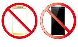 Av den mobila teckenströmbrytaren av telefonsymbol inget tillåtet mobilt varningssymbol för telefon royaltyfria bilder