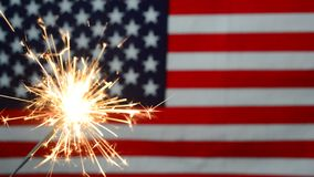 4 of july concept with sparkler Stock Footage