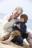 Avô e neto que olham Shell On Beach Together Fotografia de Stock Royalty Free