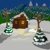 av ett vinterlandskap, ett trähus på bakgrunden av skogen och berg royaltyfri illustrationer