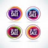 50% av försäljning, vektorsamling av ljusa rabattbubblaetiketter, stock illustrationer