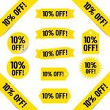 10% av försäljningsetiketter vektor illustrationer