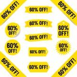 60% av försäljningsetiketter vektor illustrationer