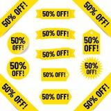 50% av försäljningsetikettsillustration vektor illustrationer