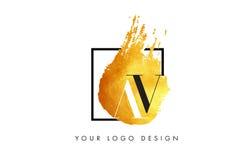 AV gouden Brief Logo Painted Brush Texture Strokes Stock Afbeelding