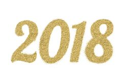2018 av guld blänker på vit bakgrund, symbol av det nya året Royaltyfria Bilder