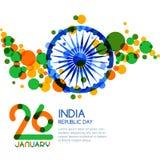 26 av Januari, Indien republikdag Flerfärgad banerbakgrund för vektor stock illustrationer
