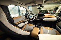 20 av Januari, 2018 - Vinnitsa, Ukraina BMW i3 elkraftmedel Royaltyfri Bild