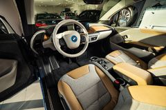 20 av Januari, 2018 - Vinnitsa, Ukraina BMW i3 elkraftmedel Royaltyfri Foto
