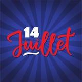 14 av Juli - smsa på det franska språket, hand-handstil, typografi på mörker - blått royaltyfri illustrationer