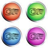 AV kulör cirkeltryckknappuppsättning stock illustrationer