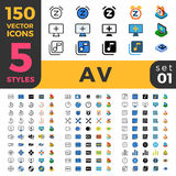 150 AV linear flat isometric mobile software web s Stock Image