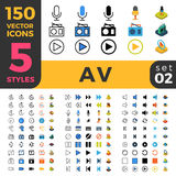 150 AV linear flat isometric mobile software web s Stock Photography