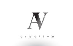AV Logo Design With Multiple Lines and Black and White Colors. Royalty Free Stock Photo