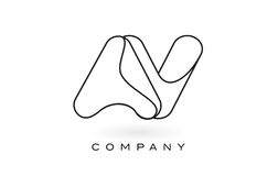 AV Monogram Letter Logo With Thin Black Monogram Outline Contour Royalty Free Stock Photos
