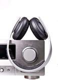 Av-mottagare och hörlurar Fotografering för Bildbyråer