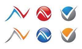 AV N, v-bokstav Logo Template Royaltyfria Bilder