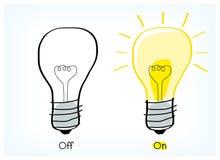 Av och på idé för ljus kula Arkivbilder