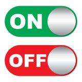 Av och på knappar Arkivfoton