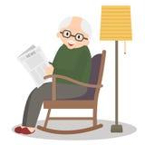 Avô que senta-se na cadeira de balanço Tempo de lazer do ancião Jornal da leitura do vovô Homem sênior bonito em casa Vetor Illus Imagem de Stock