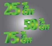 25% 50% 75% av rabattförsäljningsgräsplan Royaltyfri Foto