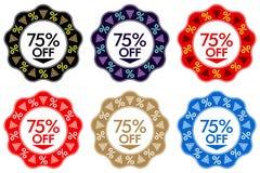 75 av rabattklistermärke Uppsättning av banerdesignen med 75 av royaltyfri illustrationer