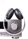 AV receiver and headphones Stock Image