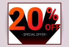 20% AV Sale Kort för advertizing för promo för specialt erbjudande för rabatt stock illustrationer