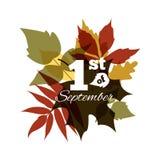 1 av September typografisk bakgrund Royaltyfria Bilder