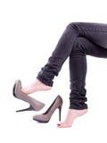 av skor tog kvinnan Royaltyfria Bilder