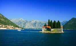 Ö av St George, Montenegro Arkivfoto