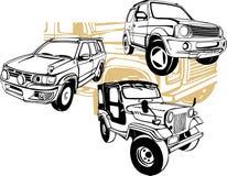 Av-väg bilar - vektoruppsättning Arkivbilder