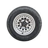 Av-väg bilhjul, främre sikt som isoleras på vit Royaltyfri Foto