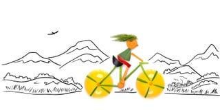 Av-väg cyklist. Arkivfoton