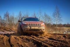 Av vägbilen i mud Arkivbild