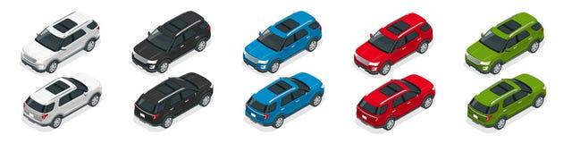 Av-vägen skriver bilen Modern storgubbetransport Plan isometrisk illustration för vektor 3d För infographics- och designlekar Royaltyfri Foto