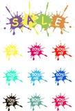 Av vektoretiketter försäljning Fläcken av spilld målarfärg på vit Färgrika försäljningsetikettsymboler, produktemballage Royaltyfria Bilder
